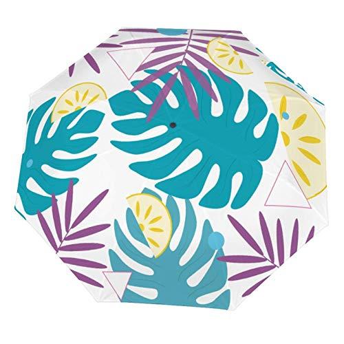 Paraguas plegable manual para lluvia, diseño Morden, estampado de plantas tropicales, resistente al sol, ligero y plegable (interior de vinilo)