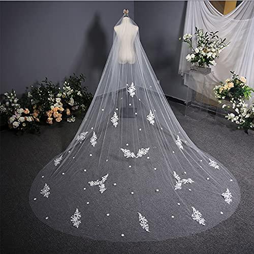 ZYQDRZ Schleier Kopfschmuck, Langer Schwanz, Braut Braut Koreanische Brautkleid, Reine Farbe Langen Luxusschleier, Hochzeit Accessoires,Weiß