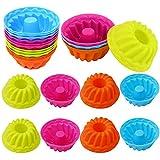 24 pezzi stampi in silicone per gugelhupf,Teglia per ciambelle,Mini stampo per muffin in silicone,Teglia per muffin,Stampo da cottura in silicone per ciambelle (4 colori) (24 pezzi)