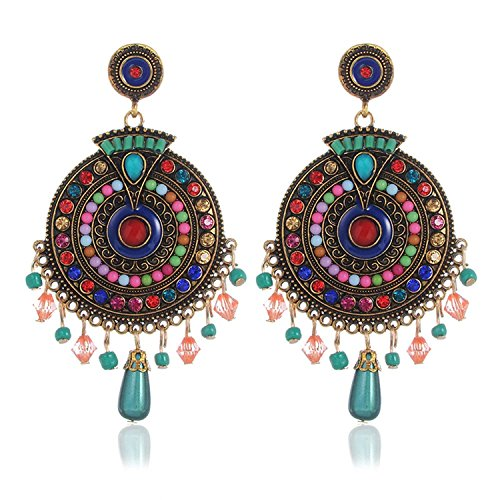 Jewels Galaxy Brass Scintillating Chunky Statement Pearl Drop Earrings For Women (CT-ERGR-45126)