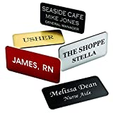 Providence Engraving Custom Name Badges with Pin Backing - Durable Personalized Acrylic Name Tag with 3 Lines of Custom Text and Pin Backing, 1.5' x 3'