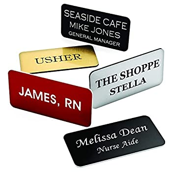 Providence Engraving Custom Name Badges with Pin Backing - Durable Personalized Acrylic Name Tag with 3 Lines of Custom Text and Pin Backing 1.5  x 3