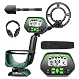 "RM RICOMAX Metal Detector for Adults- IP68 Waterproof Metal Detector with Headphones, High Accuracy, [All & Disc & Notch & Pinpoint Modes], 10""Waterproof Search Coil, Adjustable Light"