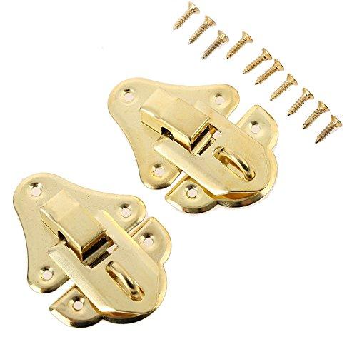 2pcs envejecido oro caja cierres decorativa hasp latch Toggle para joyería de madera caja maleta con tornillo muebles Hardware 48* 35mm