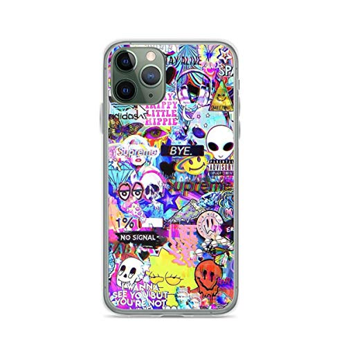 Phone Case Trippy Hippie Collage Compatible with iPhone 6 6s 7 8 X Xs Xr 11 12 Pro Max Mini Se 2020 Charm Bumper