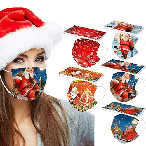 SupeRogie Adult Disposable Christmas Printed Face_Mask,Merry Christmas Face Covering 3-Ply Mixture-Pattern for Outdoor Masquerade Sports Party Holiday-50PCS
