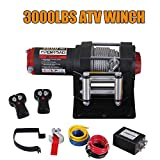 OPENROAD Electric 12V 3000lb/1361kg Single Line Waterproof Winch for UTV ATV Boat with Both Wireless Handheld Remote and Corded Control Recovery Winch