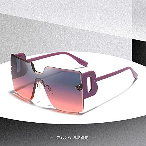 ShZyywrl Gafas De Sol De Moda Unisex Gafas De Sol Cuadradas Negras para Mujer, Montura Grande, Moda Retro, Sin Montura, Gafas De Sol para Mujer, Vintage, Señor