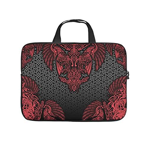 Facbalaign Funda para portátil vikingo Odin Notebook Sleeve portátil, suave, resistente al desgaste, con asa., Blanco, 17 pulgadas,