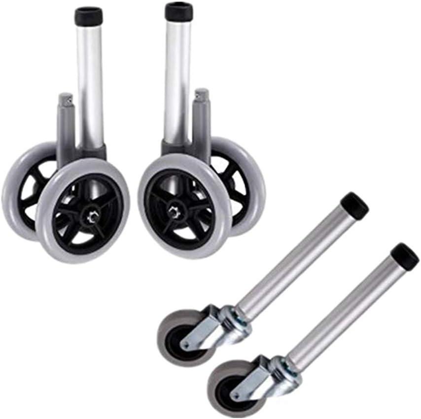 Walker Wheels - Patas de repuesto para kit de piezas de accesorios de andador médico plegable, rueda de seguridad universal delantera y trasera, ruedas de 5 pulgadas con freno