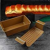 FTQ Muffa di Cottura 2 Pezzi Muffa del Pane tostato Metallo da 9 Pollici Toast Tin Lasagne teglia Muffa del Pane e del Pan di lattine Professionale Non Stick-Sano Meatloaf Set Grey