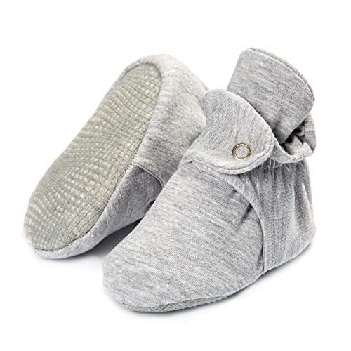 Product Image of the Organic Cotton Baby Booties, Non Skid, Soft Sole, Stay On Baby Shoes, House...