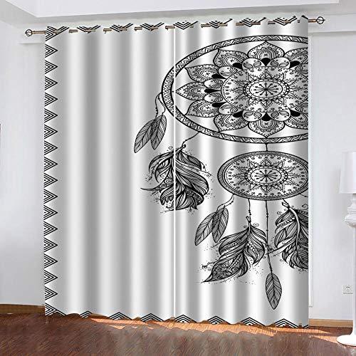 LWXBJX Cortinas Salon Cortinas Habitacion Niño Cortina Opaca - Atrapasueños en Blanco y Negro - Impresión 3D Aislantes de Frío y Calor 90% Opacas Cortinas - 150 x 166 cm - Salon Cocina Habitacion Niñ
