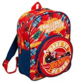 Hot Wheels Mochila para niños grandes coches escuela viaje bolsa de deportes con soporte de bebidas, Red, Talla única, Mochila