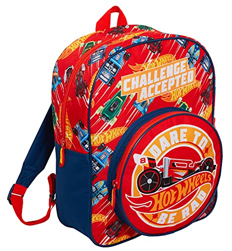 Hot Wheels Backpack for Kids Large Cars School Travel Sports Bag with Drinks Holder