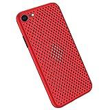 Desconocido Funda Compatible con Silicone Case para iPhone 8, Carcasa de Silicona Suave Antichoque Bumper Anti-Sobrecalentamiento Case para iPhone 7, Rojo