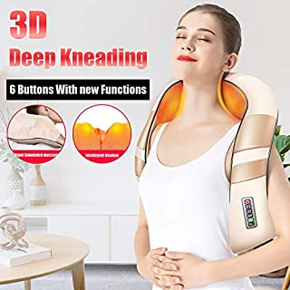 Back and Neck Massager with Heat Electric Neck and Shoulder Massager Deep Tissue 3D Kneading Massager for Neck and Back (Beige)