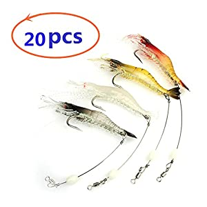 nawaish Artificial Silicone Soft Bait Set, Luminous Shrimp Fishing Lure with Hook Fishing Tackle, Freshwater/Saltwater (20 Pcs)