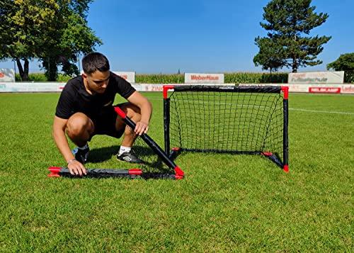 Powershot Fußballtor für den Garten, komplett faltbar, 90 x 60 cm + Fußball