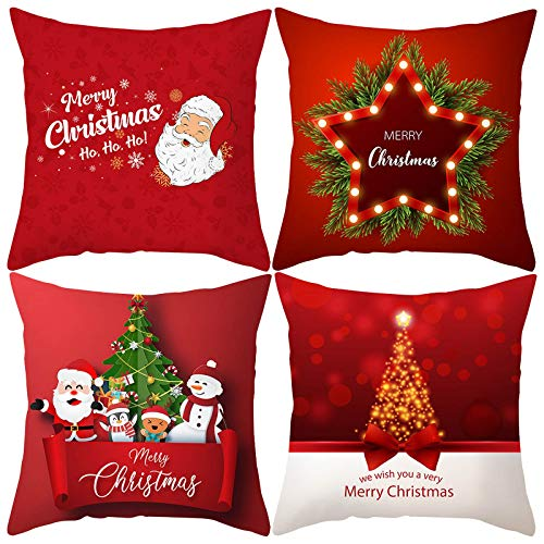 LEEDY 4PC Zierkissenbezüges Kissenbezug Weihnachten Element Print Thanksgiving Kissenbezüge für Couch Home Wohnzimmer Dekoration, 45X45cm