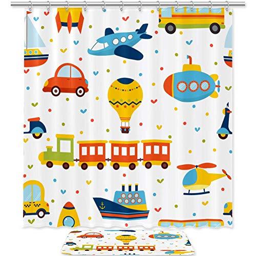 TIZORAX Trein vliegtuig auto en bus speelgoed badkamer douchegordijn set met antislip badkamer vloermat decoratie