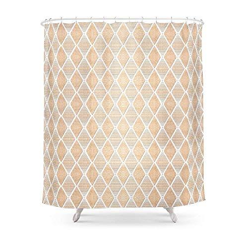 Suminla-Home Badezimmer Weiß & Kupfer Geometrische Muster Duschvorhang 182,9cm von 182,9cm