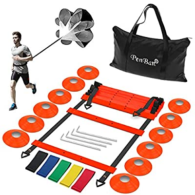 penban Pro Speed and Agility Ladder Training Set, Improves Coordination, Speed, Power and Strength,with 12 Cones, 5 Loop Resistance Bands,1 Resistance Parachute and 4 Hooks,for Soccer,Basketball,etc