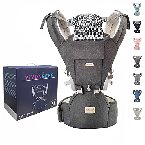 YIYUNBEBE Baby Carrier Newborn to Toddler Baby Carriers with Hip Seat Infant Baby Holder Backpack Baby Carriers Front and Back for Carrying and Hiking (Dark Grey)