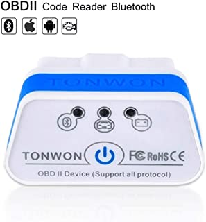 OBD2 Bluetooth Scanner, TONWON Car OBDII Fault Code Reader ELM327 Check Vehicle Engine Light Diagnostic Tool for iOS and A...