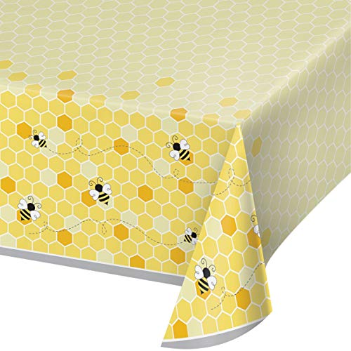 Creative Converting Bumblebee Baby Plastic Tablecloth, 54 x 102, Multi-color