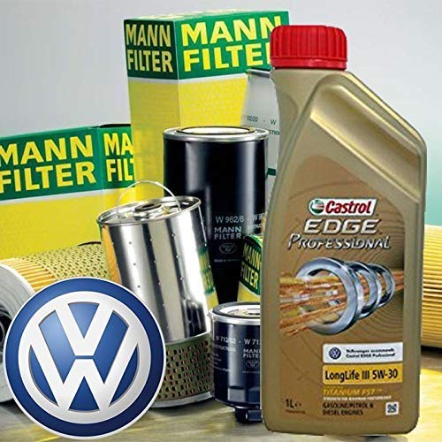 Tecneco Kit Huile Moteur 5 l cASTROL Edge Professional LL 03 5 W-30 + filtres Mann Golf VI Cabriolet/VI/Golf Plus -1.4/08