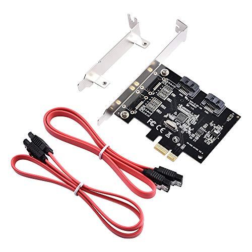 ELUTENG SATA 増設 ボード 6Gbps 超高速 PCI-E to SATA 3.0 2ポート 拡張カード PCI Express x1 X4 X8 X16用 大型/小型シャーシを使用でき Windows10/8/7/Vista/Server2003など対応 デスクトップパソコン DIY