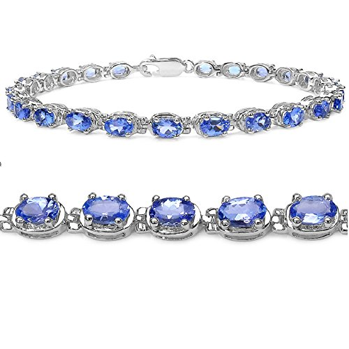 Tanzanite Tennis Bracelet in Sterling Silver by Amanda Rose Collection