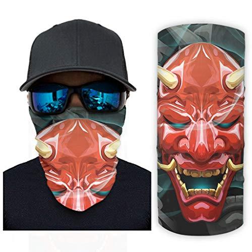 Hothotvery Unisex Schlauchtuch Coole Japanisch Rot Hanya Maske Drucken Sturmhaube Stirnbänder Freizeit Kopf Wickeln Sonne Schutz White OneSize