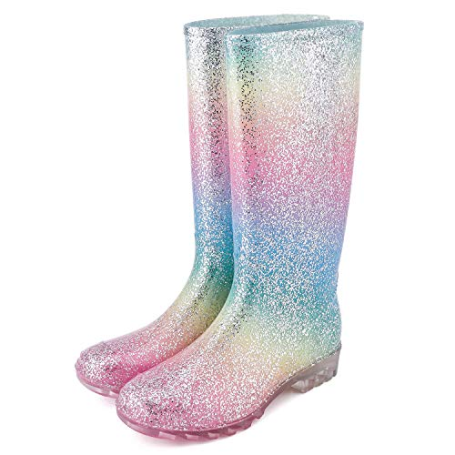 KomForme Women' s Knee High Waterproof Rain Boots Glitter, Matte and Gradient (Glitter Mulit, 10)