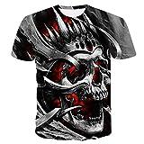 Unisex T-Shirts Estiva 3D Stampata Magliette,Cranio di Fiamma Rossa Moda Girocollo Maniche Corte Tees Manica Corta per Bar Carnival Beach Party,L