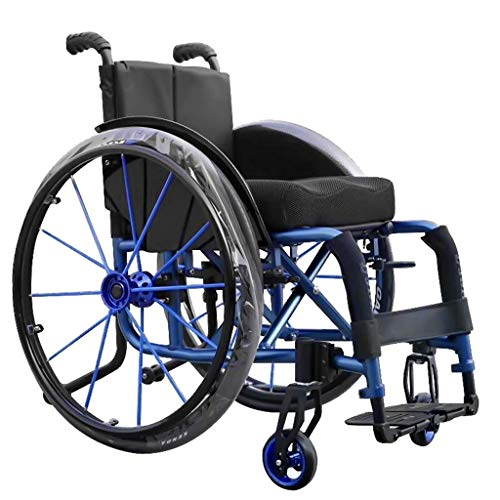 WZB - Wheelchair Sportrollstuhl, Klappbarer Rollstuhl mit Eigenantrieb, Transportrollstuhl mit Kippschutz, Behindertengerechter Rollstuhl mit Handbremse, die Beste Wahl für Geschenke, b