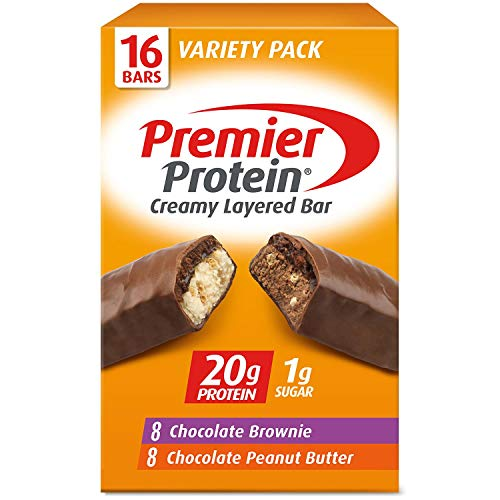 Premier Protein 20g Protein Bar, Variety Pack - Chocolate Brownie & Chocolate Peanut Butter (16 ct, 2.08 oz. ea.)