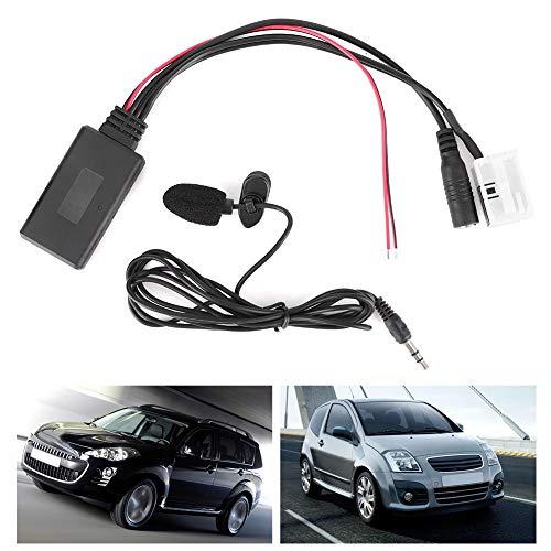 Qiilu Bluetooth Audio Cable, 12Pin Bluetooth Audio Cable Car AUX Adaptador Conector con micrófono apto para Berlingo