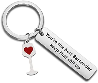 POTIY Funny Bartender Keychain You're The Best Bartender Keep That Shit Up Mixologist Keychain Birthday Gift for Women Men