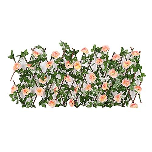 Einziehbarer Zaun,Balkon-Sichtschutzhecke,Ausziehbarer Spalierzaun,Holzzaun,Künstliche Efeu Garten Sichtschutz,2021 Neuer erweiterbarer Zaun Sichtschutz Für Die Gartenzaun Balkon dekoration (B)