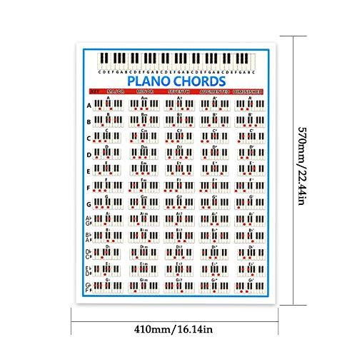 Yestter Tabulatur Piano Chord Practice Aufkleber, Großes Piano Chord Chart Poster 88 Tasten Anfänger Klavier Griffdiagramm Für Schüler Lehrer Keyboard Musikunterricht