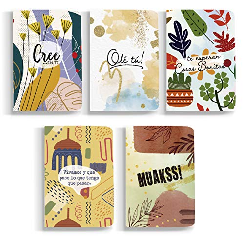 Happymots - Pack de 5 Libretas A6 Bonitas para Escribir o Dibujar. 48 Páginas de Papel Reciclado de 130 Gramos Perfecto Como Bloc de Notas Este Cuaderno de Hojas Blancas Támbien es Ideal como Regalo