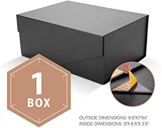 PACKHOME Gift Box Rectangular 9.5x7x4 Inches, Groomsman Box Rectangle Collapsible Box with Magnetic Lid for Gift Packaging (Matte Black with Embossing, 1 Box)