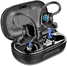 Wireless Earbuds Sports, in-Ear Bluetooth Headphones Waterproof 100H Playtime TWS Earhooks Headset Stereo CVC8.0 Noise Cancelling Wireless Earphone with Charging Case for Workout Running Gym