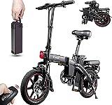 DYU Bicicleta eléctrica Plegable de 14 Pulgadas City E-Bike para Adulto Plegable, Velocidad de hasta 25 km/h, extraíble 48 V 7.5 Ah, batería de Litio Recargable, Batería Extraíble