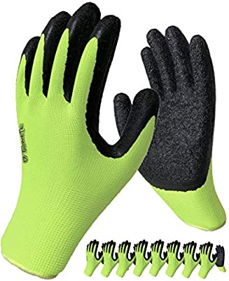 Safety Work Gloves Rubber Coated - 8 Pair Pack, Firm Grip, General Purpose, Repairing and Construction, for Men and Women ( Size Large Fits Most, Green )