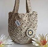 MYMEHI Bolso de verano de hombro para mujer, bolso boho de crochet en mezcla de algodón y lino, bolso con llavero difusor de aromas a juego