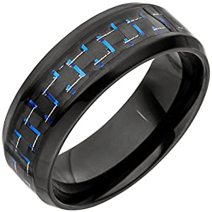 Jobo Herren-Ring Edelstahl schwarz beschichtet mit Carbon-Einlage Größe 58