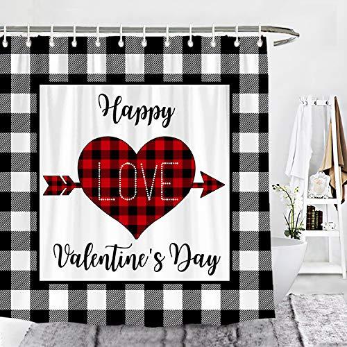 Wencal Buffalo Karo Karo Happy Valentine's Day Duschvorhang Herz Liebe Pfeil Bauernhaus Badezimmer Dekor mit Haken 183 x 183 cm